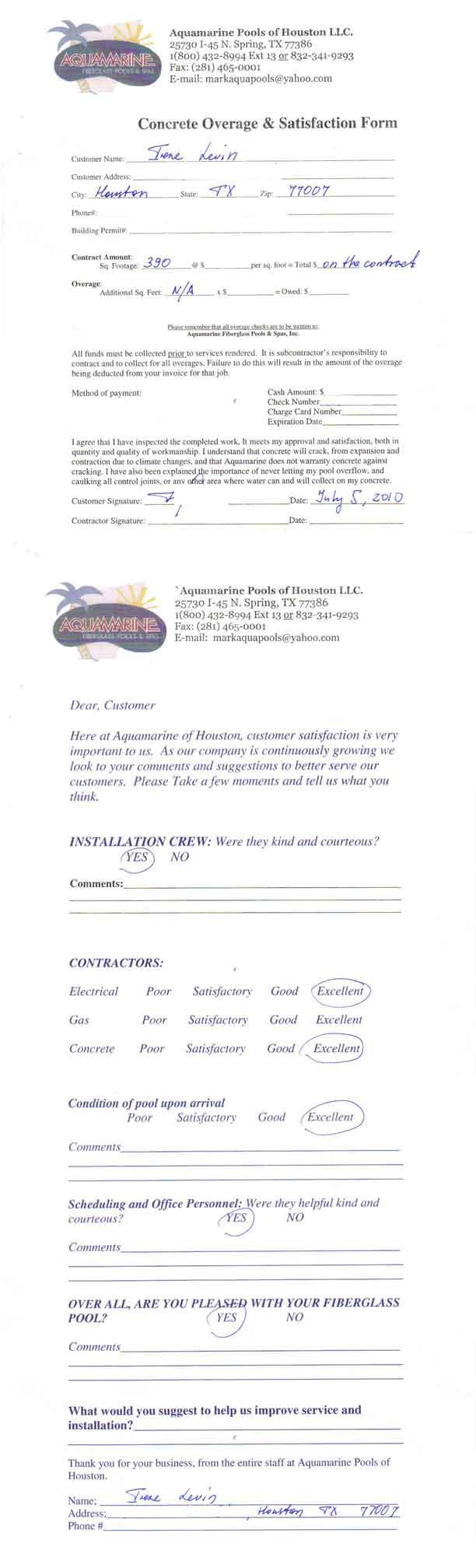 customer testimonial and review of aquamarine pools of houston