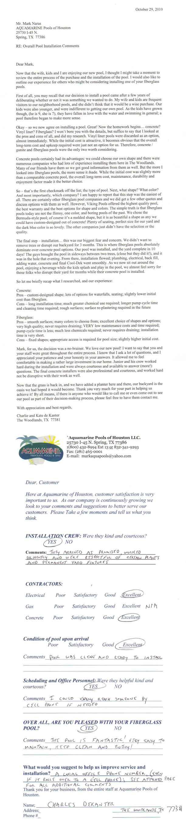 aquamarine pools of houston pool review
