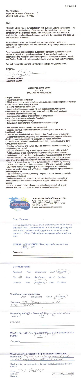 customer testimonial aquamarine pools of texas