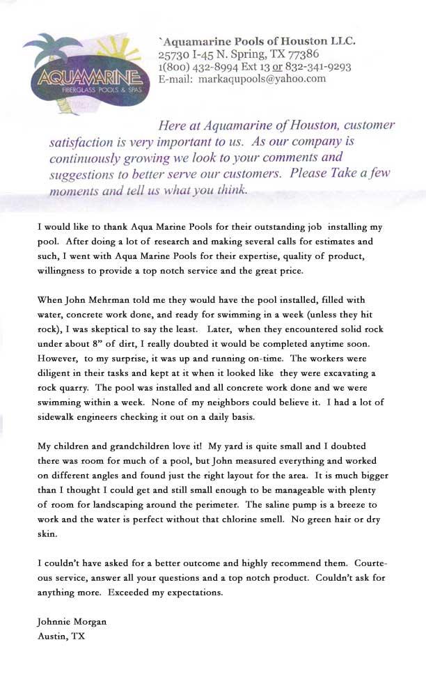 aquamarine pools corpus christi customer review