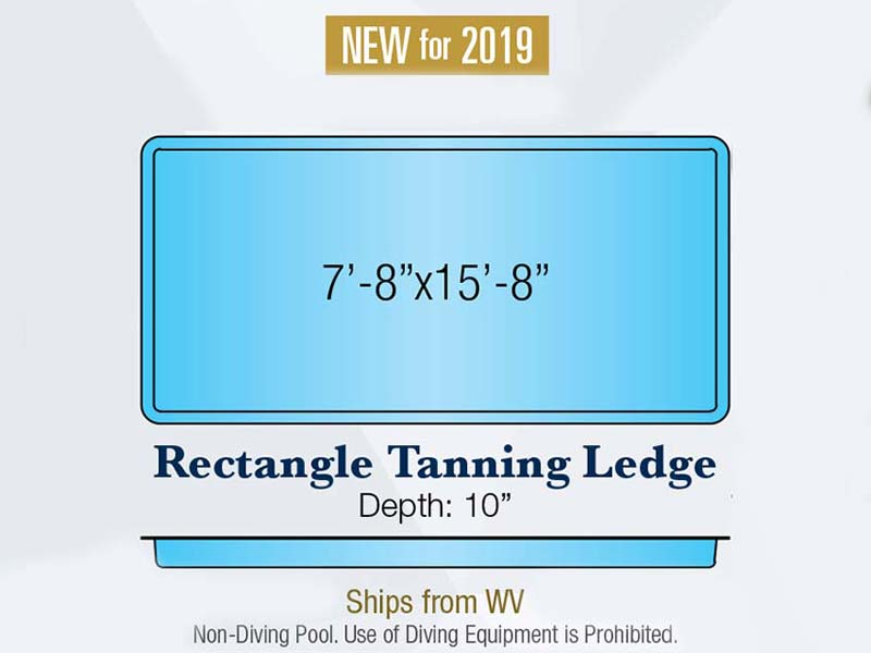 Rectangle tanning ledge swimming pool