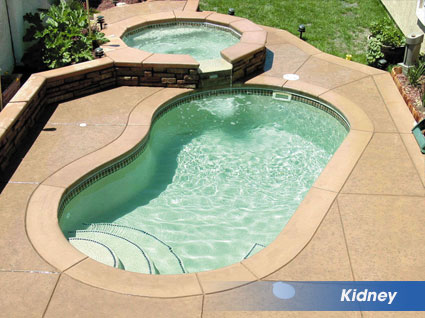 Kidney shaped swimming pools from aquamarine pools