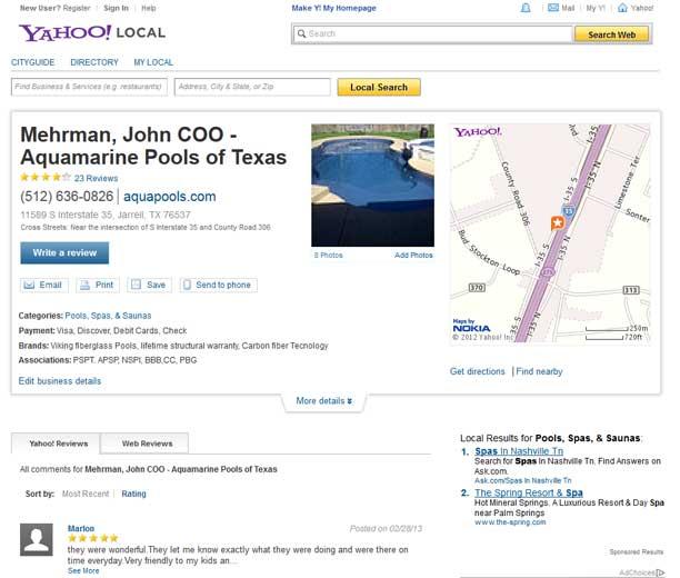 Aquamarine Pools of Texas customer review on Yahoo